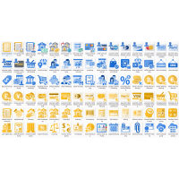 Blue Yellow Icon with transparent background png and svg